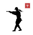 black silhouette of police woman with gun vector image vector image