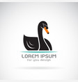 black swan design on white background logo vector image vector image