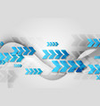 blue arrows and grey waves technology background vector image