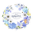 blue flower wreath vector image vector image