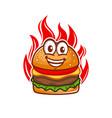 burger on fire logo vector image