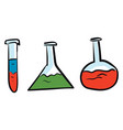 chemistry glass flasks with colorful liquid on vector image vector image
