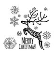 christmas card with ornamental deer for your vector image