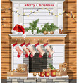 christmas decorated chimney realistic vector image