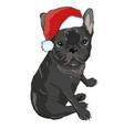 christmas greeting card pug dog with red santa s vector image vector image