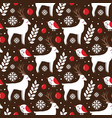 christmas seamless pattern with deer and birds vector image vector image