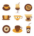 coffee tea or hot chocolate in cups vector image vector image