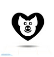 cute piggy in heart black icon love symbol vector image