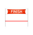 finish line with red banner and ribbon vector image vector image