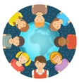 Flat Different Kids around the Earth vector image