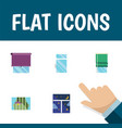 flat icon glass set of frame curtain balcony and vector image vector image