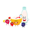 funny bowl of cottage cheese milk bottle and vector image vector image