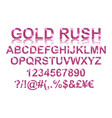 gold rush gold pink alphabetic fonts vector image vector image