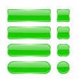 green glass buttons collection of menu interface vector image vector image