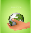 Green Planet in hand vector image vector image