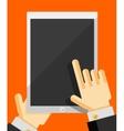 Hand holding smart phone trendy flat design vector image