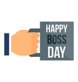 happy boss day cup icon flat style vector image