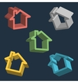 Home house icon set vector image vector image