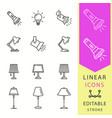lighting icons set black vector image
