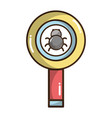 magnifying glass with spider insect inside vector image vector image