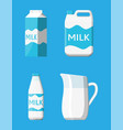 milk set isolated on blue vector image vector image