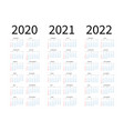 mockup simple calendar layout for 2020 2021 and vector image
