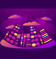 night city with clouds and stars summer cityscape vector image vector image