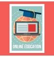 Online education poster wit vintage vector image vector image