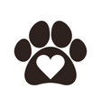 paw print with heart vector image vector image