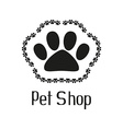 Pet shop logo with pet paw vector image vector image