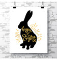 poster with a handwritten phrase-happy easter on vector image vector image
