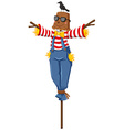 Scarecrow with crow standing on his head vector image vector image