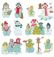 Snowman Christmas Set vector image vector image