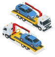 Tow truck isometric Car towing truck 3d vector image vector image