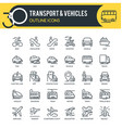 transport and vehicles outline icons vector image
