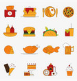 trendy color flat food products icon set european vector image vector image