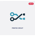 two color printed circuit connections icon from vector image vector image