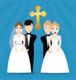 two couple wedding cross image vector image
