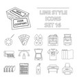 typography set icons in outline style big vector image vector image