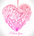 Valentines card with floral pattern vector image vector image