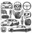 vintage car racing icons set vector image vector image