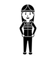 worker female construction character standing vector image
