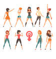 young women showing fists set feminism fighting vector image