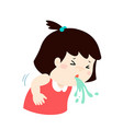 sick girl vomiting cartoon vector image