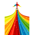 Background with rainbow airplane vector image