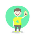 cheerful little boy with avacado vector image