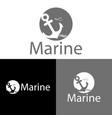 anchor and seabird logo template vector image