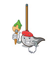 artist mop character cartoon style vector image