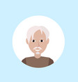 asian old man face happy portrait on blue