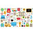 back to school elements school hand drawn symbols vector image